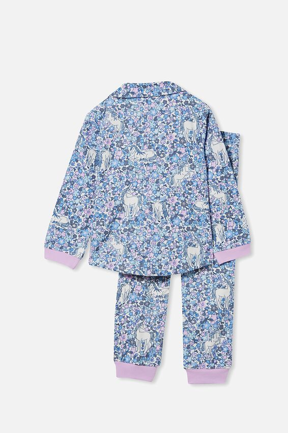 Angie Long Sleeve Pyjama Set, UNICORN GARDEN/PALE VIOLET