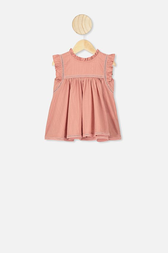 Tess Flutter Sleeve Dress, CLAY PIGEON