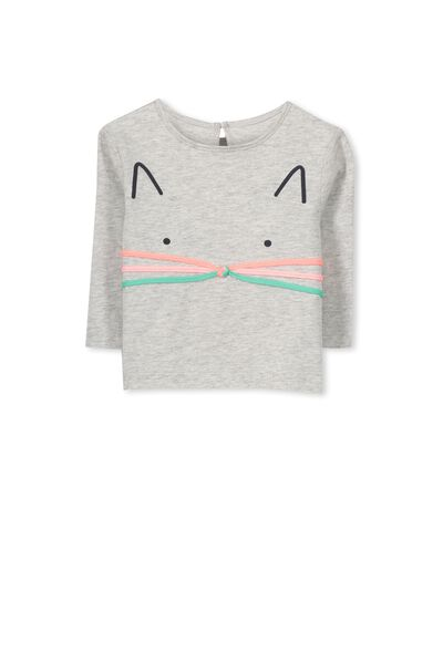 Bonnie Long Sleeve Tee, CLOUD MARLE/KITTY FACE