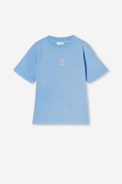Scout Embellished Short Sleeve Tee, DUSK BLUE/LOVE EMBROIDERY