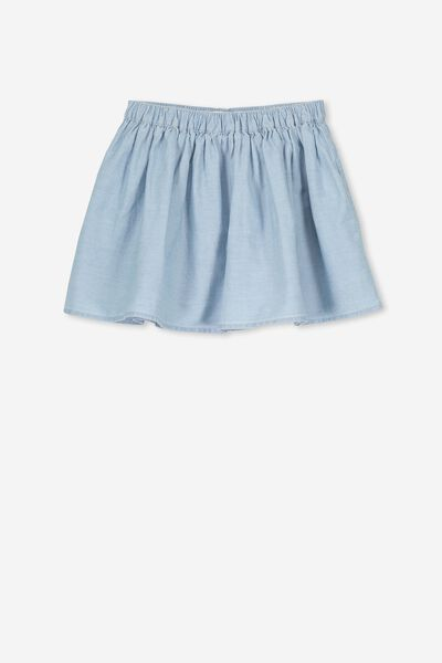 Ellie Flippy Skirt, LIGHT CHAMBRAY