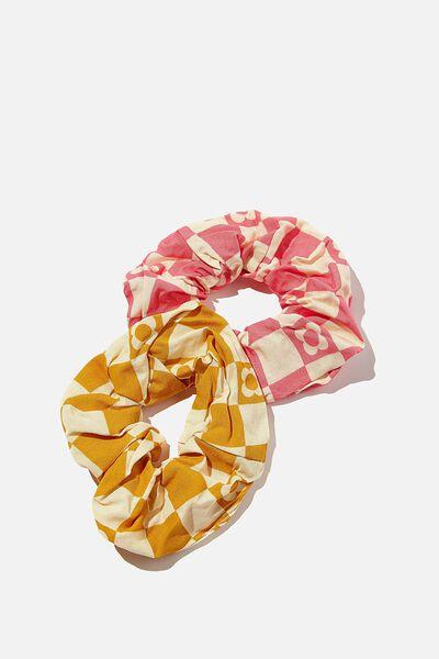 Hannah Hair Ties - Super Scrunchies, TUMERIC/PINK COOGEE CHECK