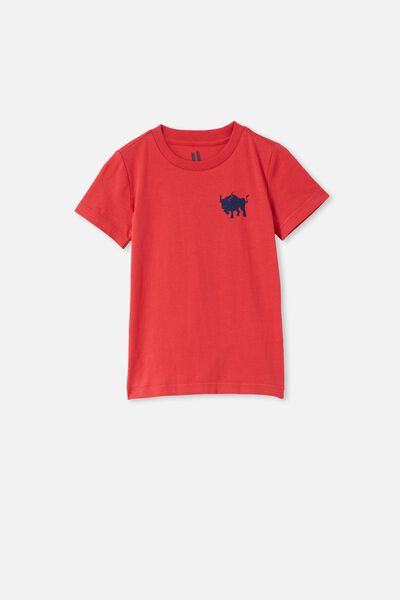 Max Short Sleeve Tee, LUCKY RED / NAVY BLAZER BULL