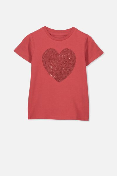 Stevie Ss Embellished Tee, AURORA RED/GLITTER SEQUIN HEART/MAX