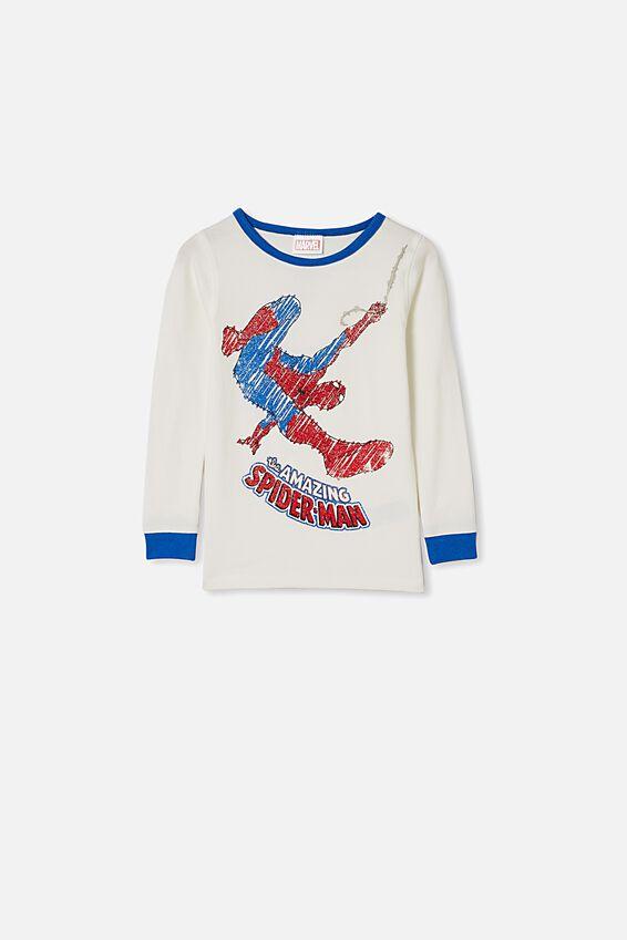 Ethan Long Sleeve Pyjama Set, LCN MAR SPIDERMAN/VANILLA