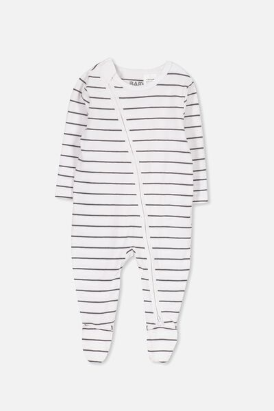 Mini Zip Through Romper, WHITE/GRAPHITE GREY STRIPE