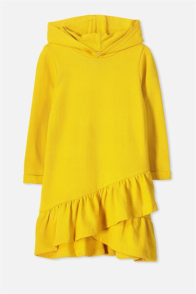 Violet Long Sleeve Hood Dress, GOLDEN YELLOW
