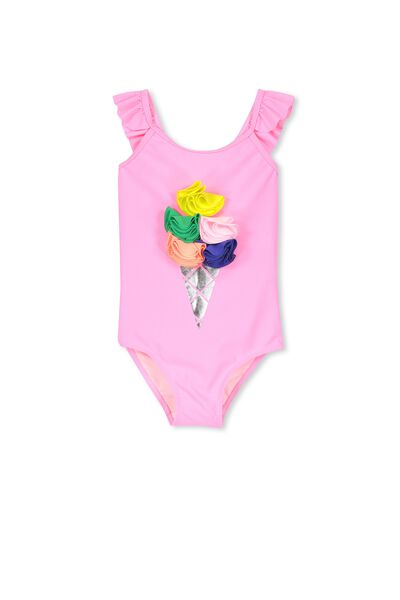 Aaliyah One Piece, HIGHLIGHTER PINK/APPLIQUE ICE CREAM