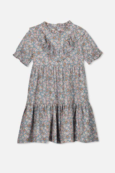 Laura Short Sleeve Dress, MULTI DOT FLORAL