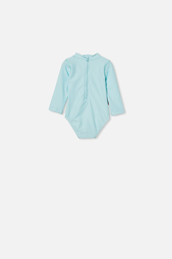 Polly Long Sleeve Swimsuit, DREAM BLUE/BELLA BUDGIE