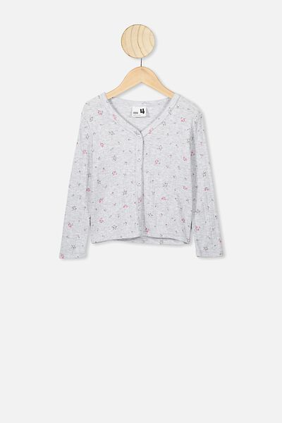 Bessie Button Through Top, GREY MARLE FLORAL FIELDS