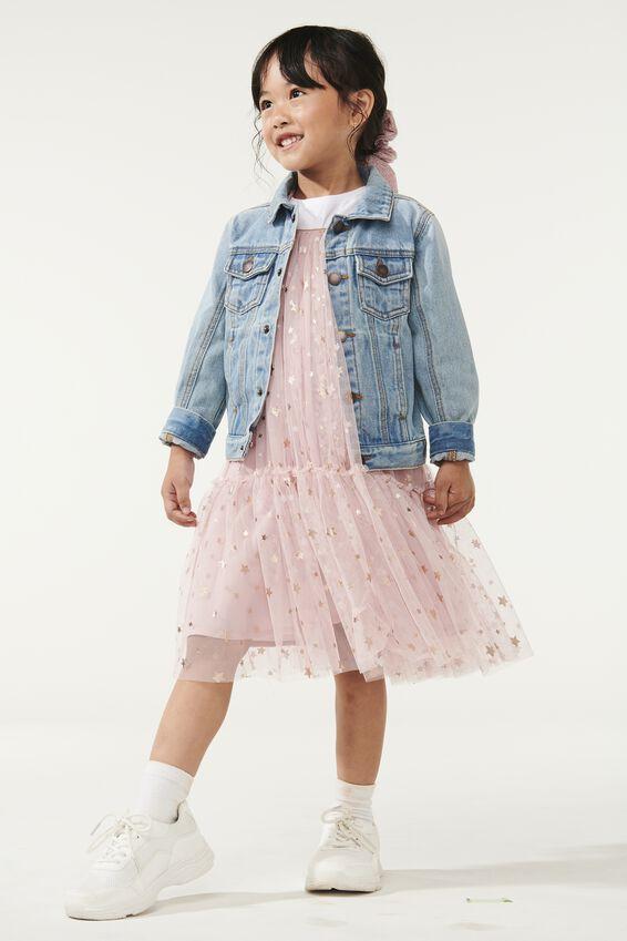 Iris Tulle Dress, DUSTY PINK/STARS