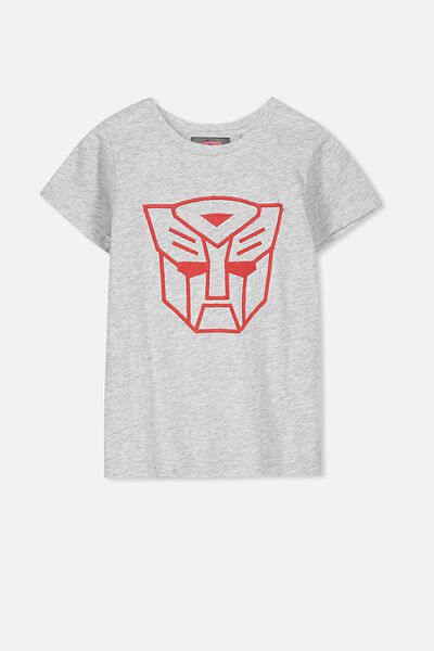 Short Sleeve License Tee, LT GREY MARLE/TRANSFORMER EMB