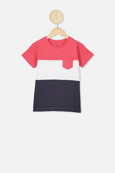 Louis Short Sleeve Texture Tee, RED SPLICE