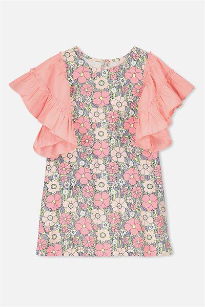 Mai Short Sleeve Dress, AMORE PINK/VINE LEAF FLORAL