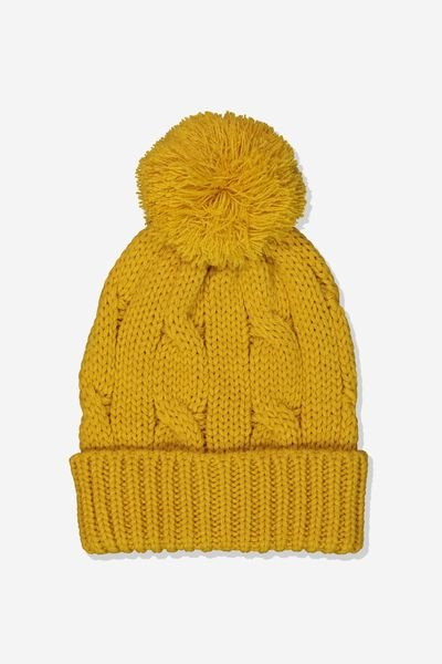 Winter Knit Beanie, GOLDEN GLOW/POM POM