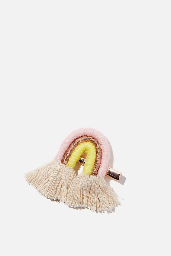 Hair Clip - Natural, PINK RAINBOW