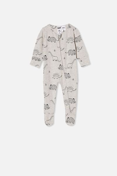 The Long Sleeve Zip Romper, CLOUD MARLE/GRAPHITE DINO MAMMOTH