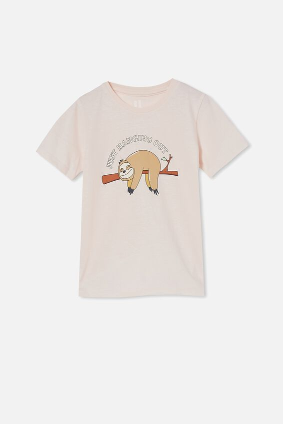 Penelope Short Sleeve Tee, CRYSTAL PINK/JUST HANGING SLOTH