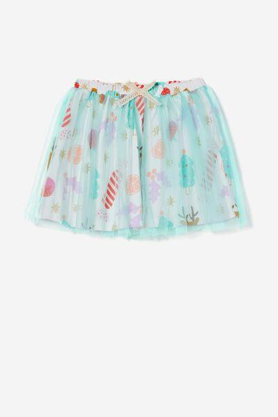 Sadie Dress Up Skirt, VANILLA CHRISTMAS/MINT BREEZE