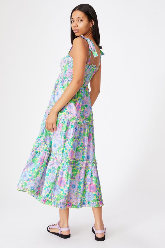 Mama Annie Sleeveless Dress, LEMON DROP RETRO FLORAL