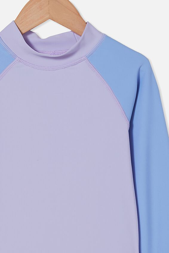 Flynn Long Sleeve Raglan Rash Vest, SMOKEY LILAC/DUSK BLUE