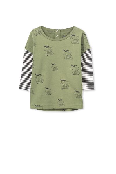 Dylan Ls Tee, CLIVE GREEN/MOOSE