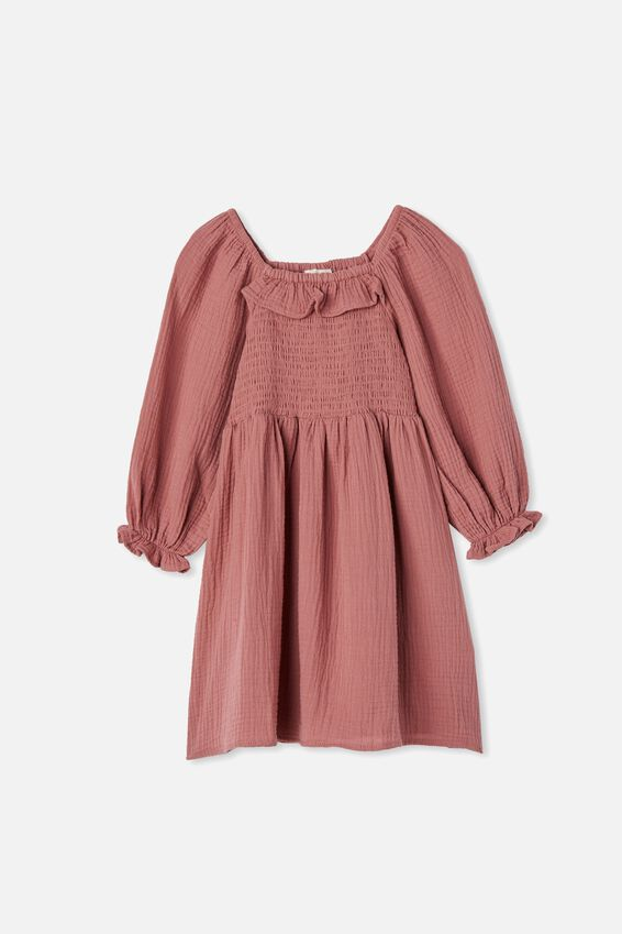Audrey Long Sleeve Dress, DUSTY BERRY