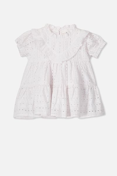 Layla Flutter Sleeve Dress, WHITE