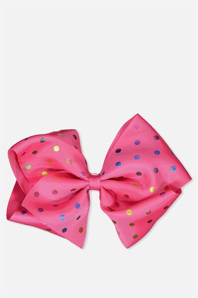 Statement Bows, BRIGHT PINK/SPOT