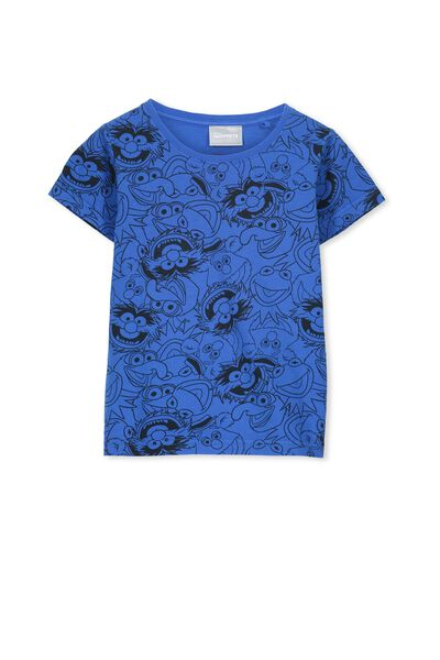 Boys Blue Muppets Short Sleeve Tee, STRONG BLUE/MUPPET YDG