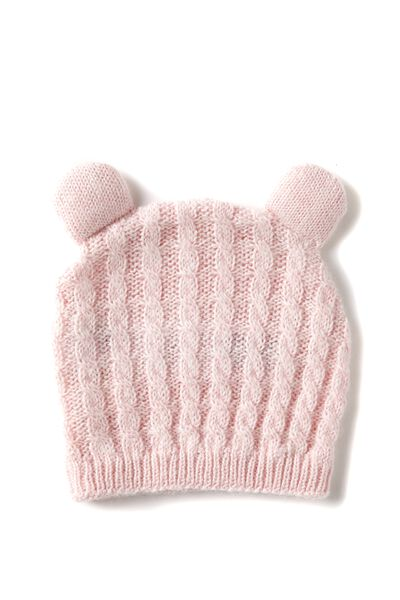 Baby Knitted Beanie, OTS - BABY PINK 1