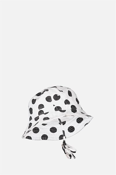 Kids Bucket Hat, VANILLA/BLACK SPOT