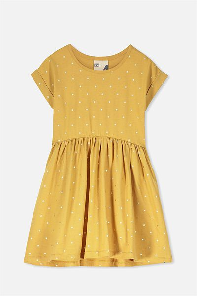 Nicola Short Sleeve Dress, MARIGOLD/GOLD DOT
