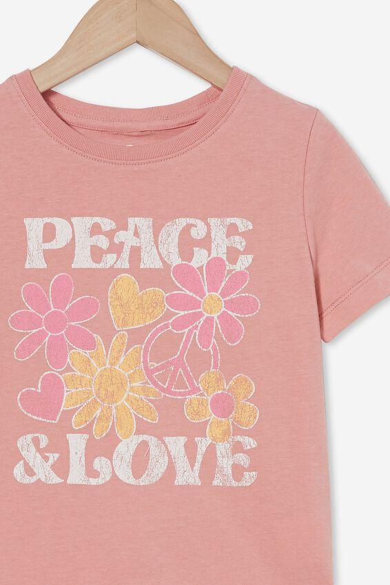 Penelope Short Sleeve Tee, MUSK ROSE/DAISY PEACE AND LOVE