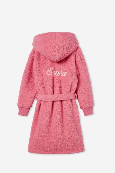 Girls Hooded Long Sleeve Sherpa Gown Personalised, PINK PUNCH