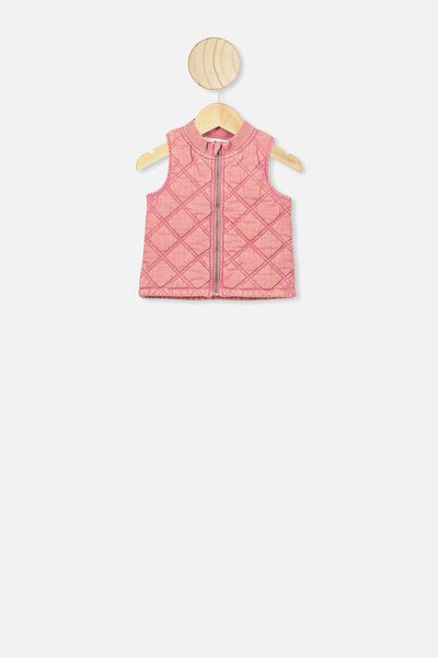 Lewis Quilted Vest, RUSTY BLUSH