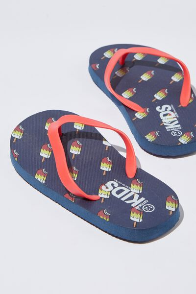 Printed Flip Flop, B NEW ICY POLES