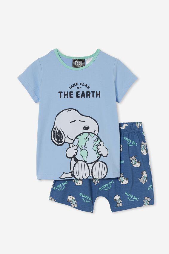 Snoopy Hudson Short Sleeve Pyjama Set, LCN PEA SNOOPY TAKE CARE/DUSK BLUE