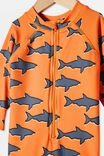 Cameron Long Sleeve Swimsuit, MELON POP/SHARKS
