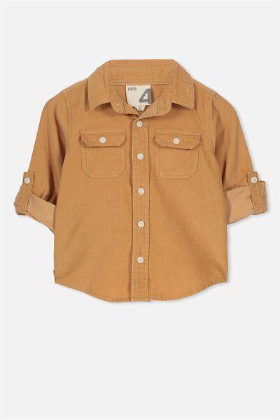 Noah Long Sleeve Shirt, NATURAL CORDUROY