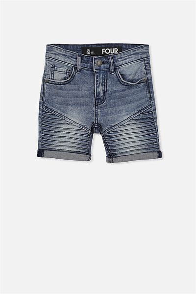 Pacey Denim Short, MOTO CRYPTIC BLUE