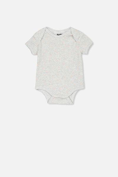 Newborn Short Sleeve Bubbysuit, KATE SPOT SOFT GREY MARLE/PEACH