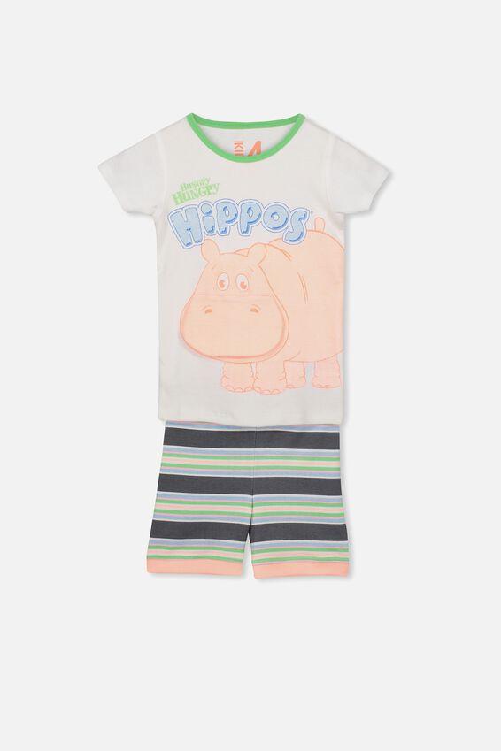 Harlow 2 Short Sleeve PJ Set, LCN HUNGRY HIPPOS