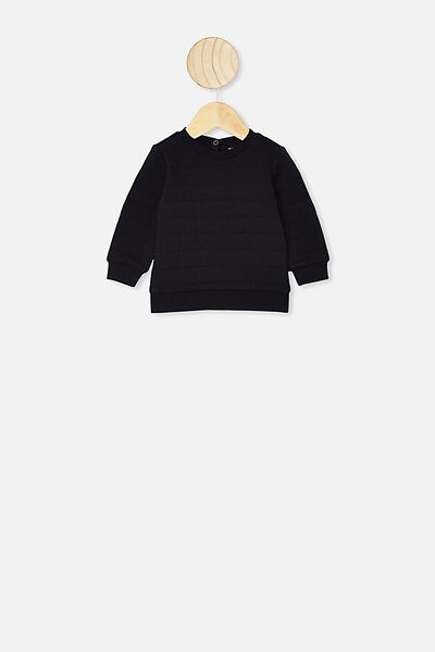 Scout Quilted Sweater, BLACK