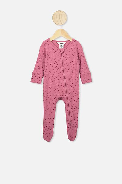 Newborn Zip Through Romper, MAUVE PLUM/RAIN DROPS