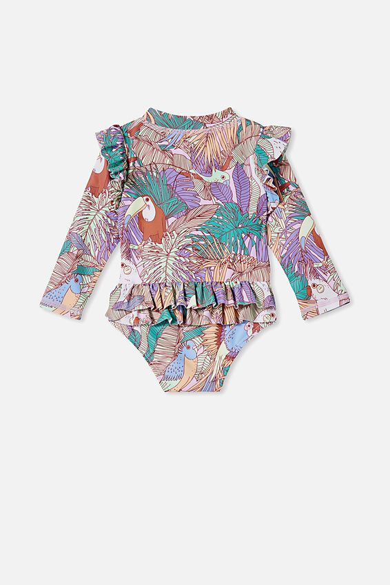Baby Long Sleeve Swimsuit, PALE VIOLET/TROPICAL BIRDS