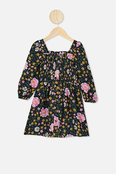 Lindsay Long Sleeve Dress, KIP&CO/DARK FOREST FLOOR