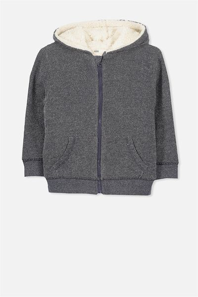 Sid Zip Thru Hoodie, WASHED NAVY TWIST