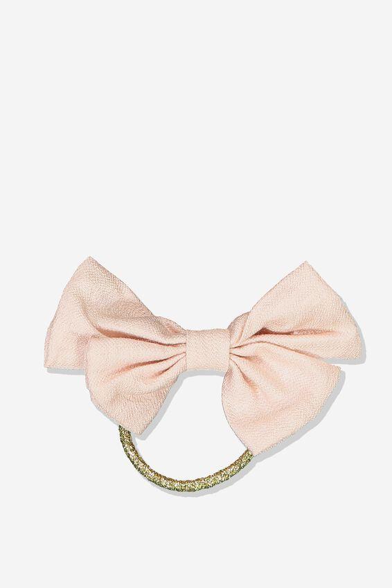 Bow Hair Tie, PEARL PINK